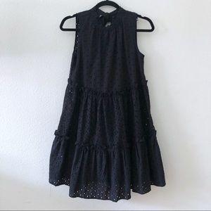 ASOS black ruffle tiered eyelet mock neck dress